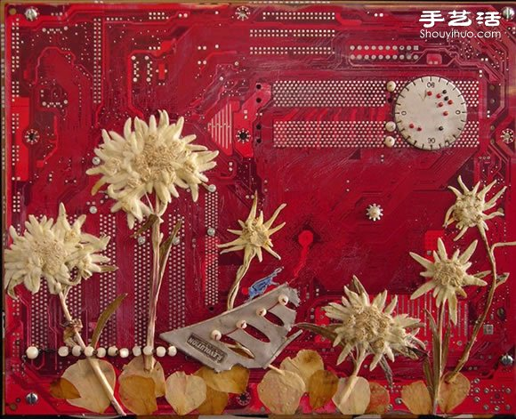 掉落葉子與電子垃圾DIY製作環保藝術作品
