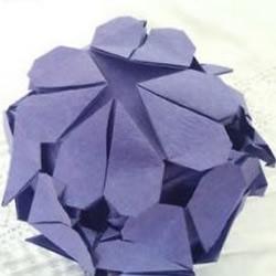 手工折纸制作带心形图案的六面体花球