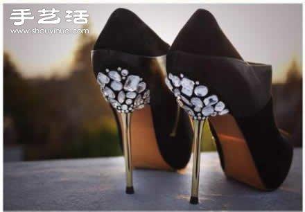 DIY華麗麗的水鑽裝飾高跟鞋圖解教程