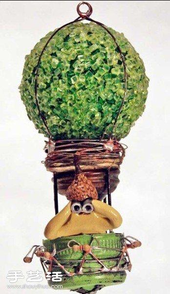 舊燈泡變廢為寶創意DIY熱氣球手工藝品