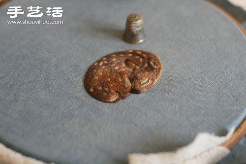 手工刺绣安睡沉睡的梅花鹿图案图解教程 -  www.shouyihuo.com
