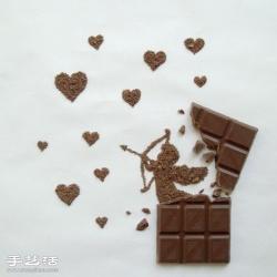 利用巧克力创意DIY绘制爱情主题图案