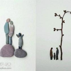 创意DIY石块拼贴画 简单又神奇的艺术创作