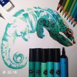 普通画笔手绘出栩栩如生的动物画作