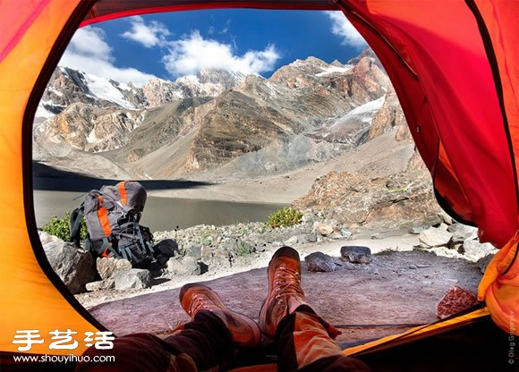 从帐篷里欣赏清澈美丽的海拔5000公尺美景