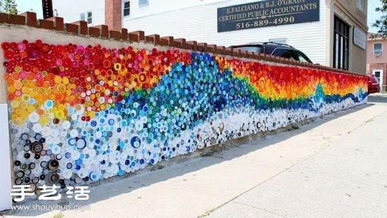 廢棄塑料瓶變廢為寶DIY彩虹裝飾牆