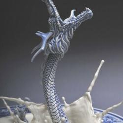 陶艺手工制作神龙出海造型台盆水龙头