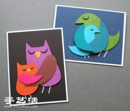 温馨的鸟儿剪纸拼贴画小制作图解教程 -  www.shouyihuo.com