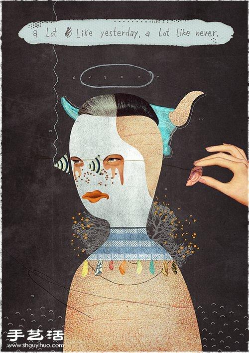 BECHA极尽夸张的肖像拼贴画DIY作品 -  www.shouyihuo.com