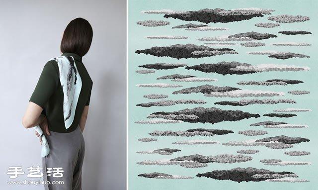 荷蘭空靈系手繪絲巾Composed elements