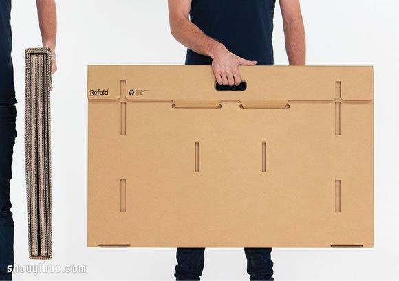 利用瓦楞紙板設計製作的便攜可摺疊電腦桌