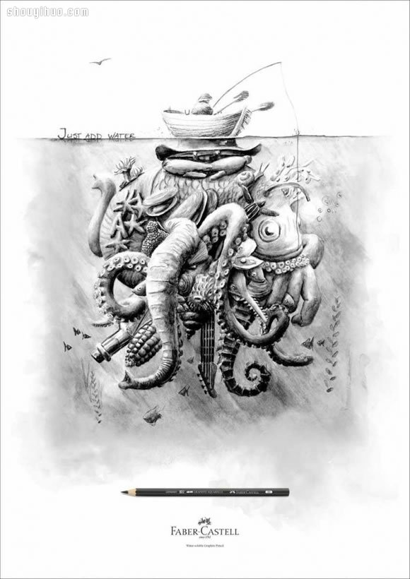 Faber-Castell 木鉛筆製造商素描風廣告