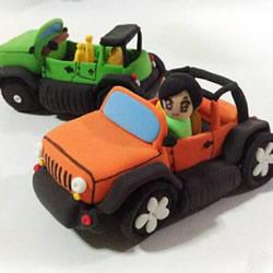 超轻粘土手工制作卡通吉普车玩具图解教程