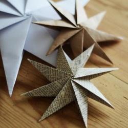 三角插折纸手工制作立体八角星图解教程