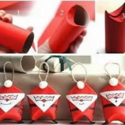 卷纸筒变废为宝手工制作圣诞老人图解教