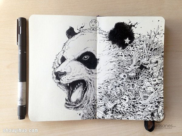 科幻画女生_普通黑笔画出天马行空精美画作_手艺活网
