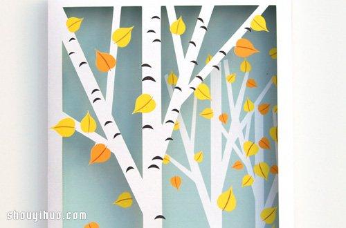 剪纸手工制作立体橡树装饰画框带打印图纸 -www.shouyihuo.com
