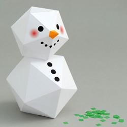 卡纸折纸手工制作立体多边形雪人图解教