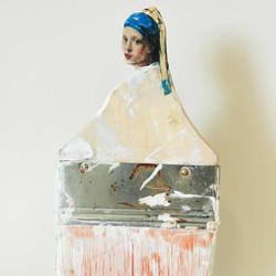 废旧油漆刷变废为宝雕刻成世界名画中的人物