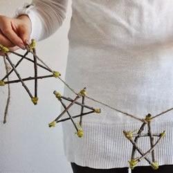树枝枝条变废为宝DIY手工制作五角星挂饰