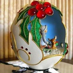 美轮美奂的鸡蛋壳手绘雕刻DIY金沙术品