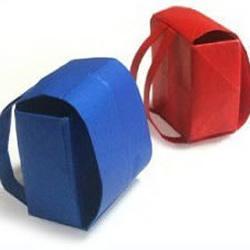 简单的迷你书包包装盒折纸图解教程