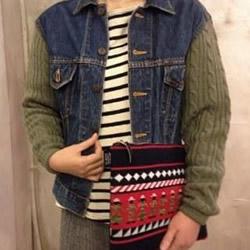 旧牛仔外套+毛衣 手工改造DIY个性保暖外套