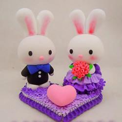 可爱兔宝宝粘土玩偶婚礼摆件手工制作图