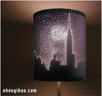 硬紙板DIY手工製作精美透光燈罩的方法教程