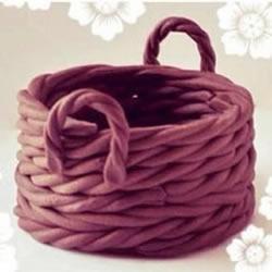 利用粘土手工制作带提手篮筐篓子图解教程