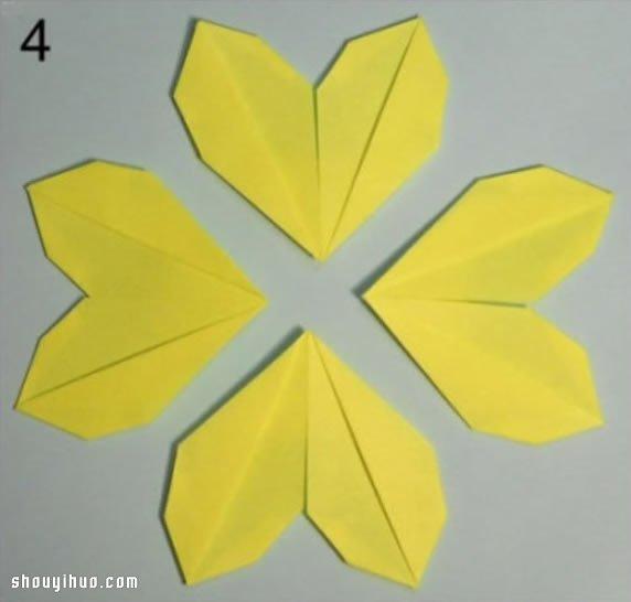 盛開的小黃花摺紙 向日葵紙花折法圖解教程