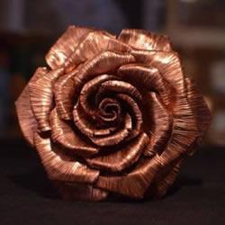 铜片制作玫瑰花 铜质玫瑰花手工DIY教程