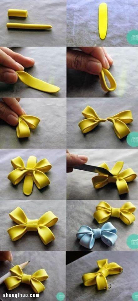 蝴蝶結小飾品軟陶粘土DIY手工製作圖解教程