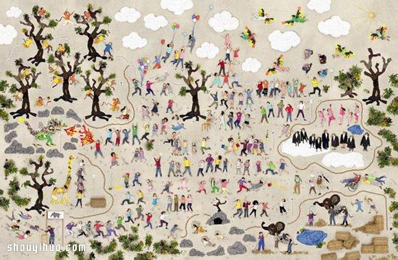 上千張兒童寫真合成的巨幅歡樂街景照片