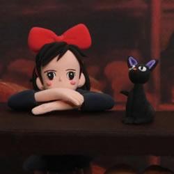 魔女宅急便女孩琪琪和小黑猫粘土手工制