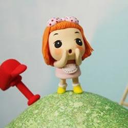 小女孩粘土手办 小女生粘土人偶手工制作