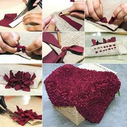 利用旧衣服和麻布DIY手工制作脚垫地毯教