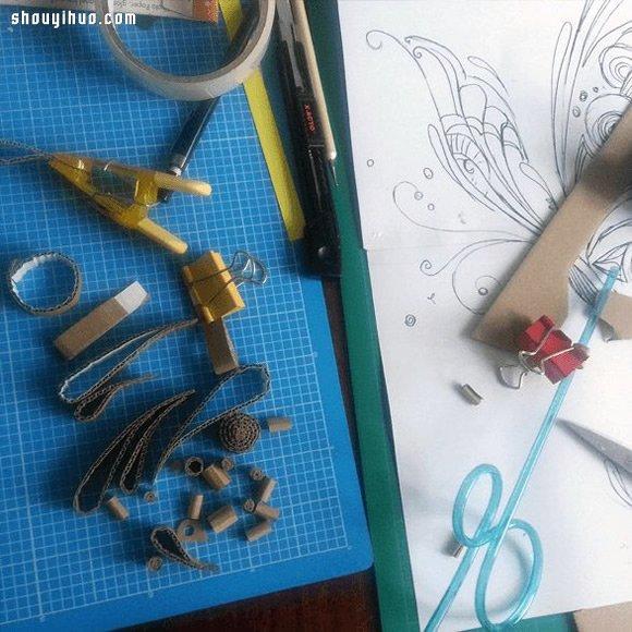 披萨盒变废为宝DIY手工制作漂亮蝴蝶卷纸画 -www.shouyihuo.com