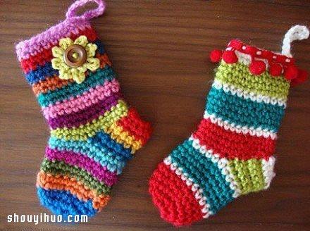 钩编包包图解_毛线钩针编织可爱儿童保暖袜子的图解教程_手艺活网