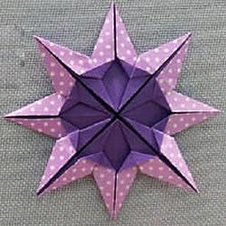 �p色八角星的折法�D解 八角星折�手工制