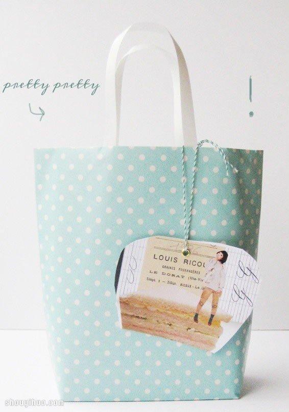 很简单的小清新手提袋折纸手工制作图解教程 -  www.shouyihuo.com