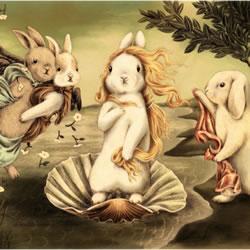 当兔子遇上名画 插画家Shae的治愈系手绘