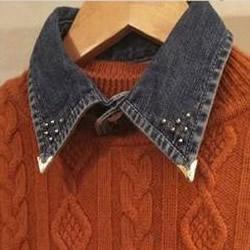牛仔布衬衫改造 DIY手工制作帅气装饰领子