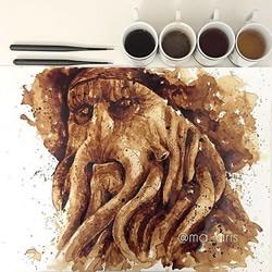 咖啡画!以深浅不同的咖啡手绘电影人物