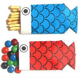 鲤鱼包装盒的折法 手工折纸鲤鱼包装盒图