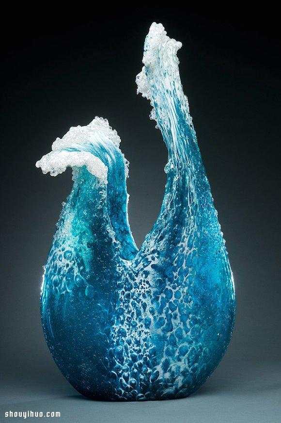壮丽的玻璃雕塑花瓶 把惊涛骇浪搬进客厅! -  www.shouyihuo.com