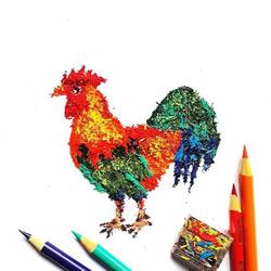 铅笔屑当作创作素材 创意拼凑DIY各种图案