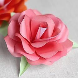 简单折纸漂亮玫瑰花的折法步骤图解教程