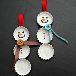 超简单瓶盖雪人小挂件手工制作方法图解
