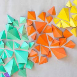 简单折纸立体三角形 DIY几何形状背景墙